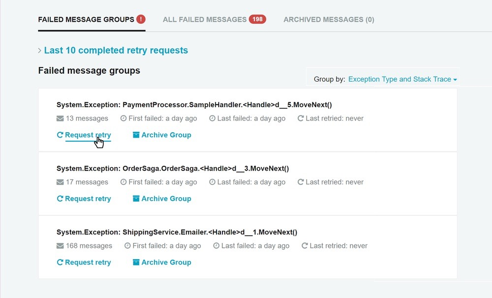 Failed message groups in ServicePulse
